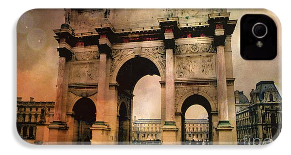 Surreal Paris Arc De Triomphe Louvre Arch Courtyard Sepia Soft Bokeh IPhone 4 / 4s Case by Kathy Fornal