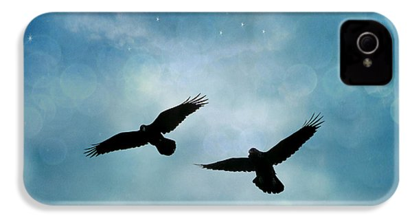 Surreal Ravens Crows Flying Blue Sky Stars IPhone 4 Case by Kathy Fornal