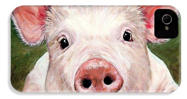 Sweet Little Piglet On Green IPhone 4 Case by Dottie Dracos