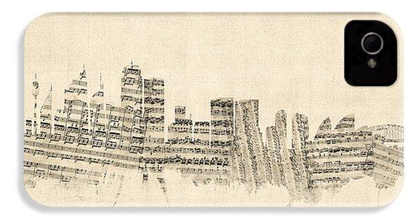 Sydney Australia Skyline Sheet Music Cityscape IPhone 4 Case by Michael Tompsett