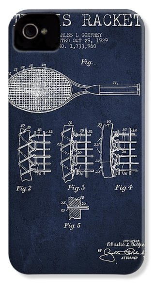 Tennnis Racket Patent Drawing From 1929 IPhone 4 / 4s Case by Aged Pixel