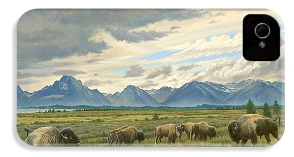 Tetons-buffalo  IPhone 4 Case by Paul Krapf