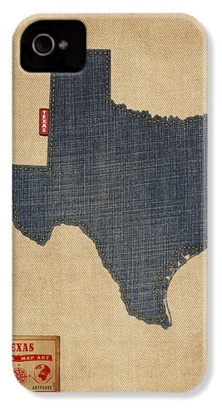 Texas Map Denim Jeans Style IPhone 4 Case by Michael Tompsett