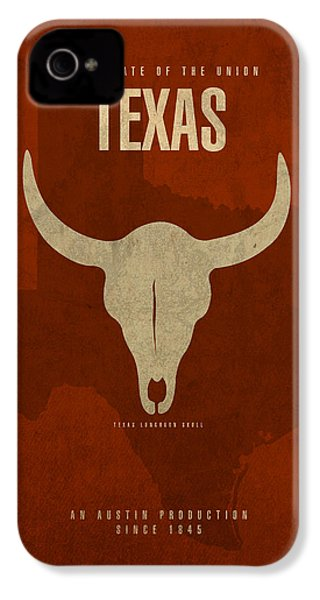 Texas State Facts Minimalist Movie Poster Art  IPhone 4 Case by Design Turnpike
