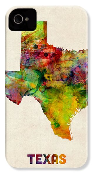 Texas Watercolor Map IPhone 4 Case by Michael Tompsett