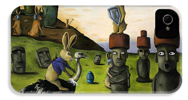 The Battle Over Easter Island IPhone 4 / 4s Case by Leah Saulnier The Painting Maniac