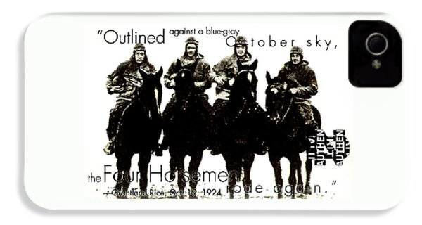 The Four Horsemen Of Notre Dame IPhone 4 Case by David Patterson