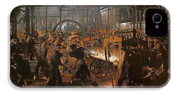 The Iron-rolling Mill Oil On Canvas, 1875 IPhone 4 Case by Adolph Friedrich Erdmann von Menzel