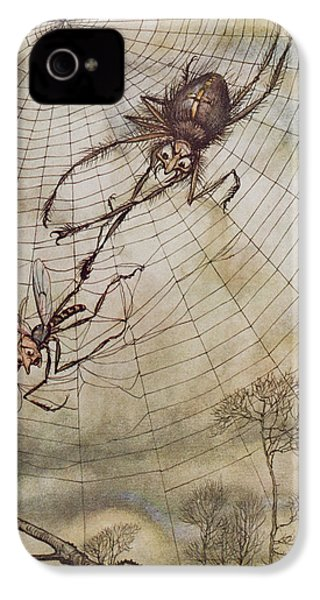 The Spider And The Fly IPhone 4 Case by Arthur Rackham