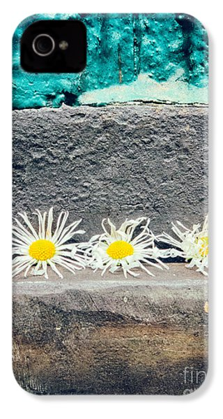 IPhone 4 Case featuring the photograph Three Daisies Stuck In A Door by Silvia Ganora