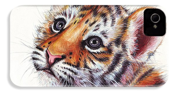 Tiger Cub Watercolor Painting IPhone 4 Case
