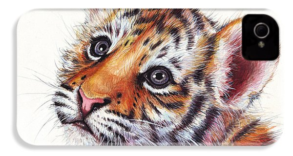 Tiger Cub Watercolor Painting IPhone 4 / 4s Case by Olga Shvartsur