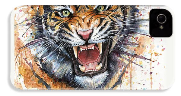 Tiger Watercolor Portrait IPhone 4 Case by Olga Shvartsur