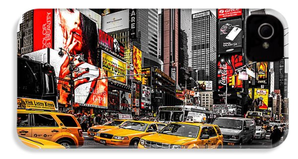 Times Square Taxis IPhone 4 Case by Az Jackson