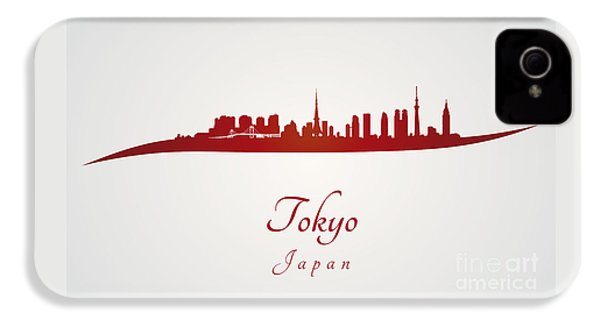 Tokyo Skyline In Red IPhone 4 Case by Pablo Romero