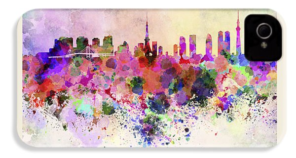 Tokyo Skyline In Watercolor Background IPhone 4 Case by Pablo Romero