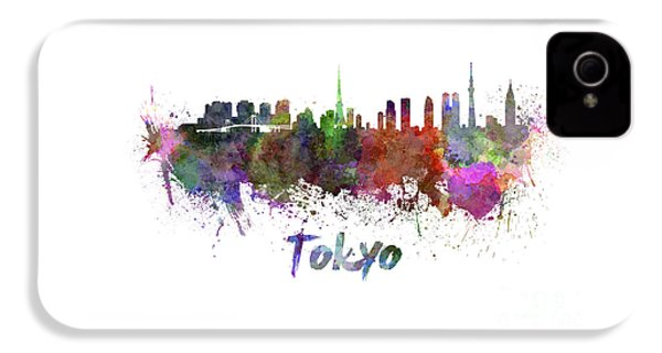Tokyo Skyline In Watercolor IPhone 4 Case by Pablo Romero