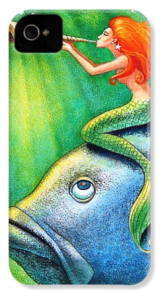 Toot Your Own Seashell Mermaid IPhone 4 / 4s Case by Sue Halstenberg