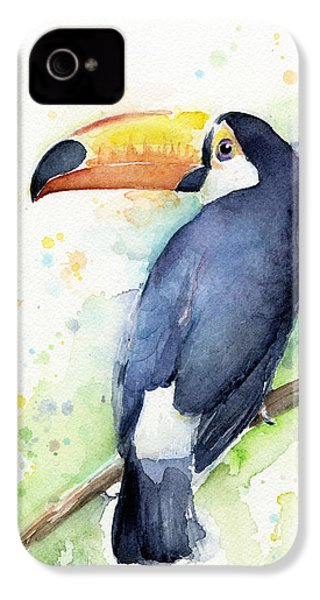 Toucan Watercolor IPhone 4 Case by Olga Shvartsur