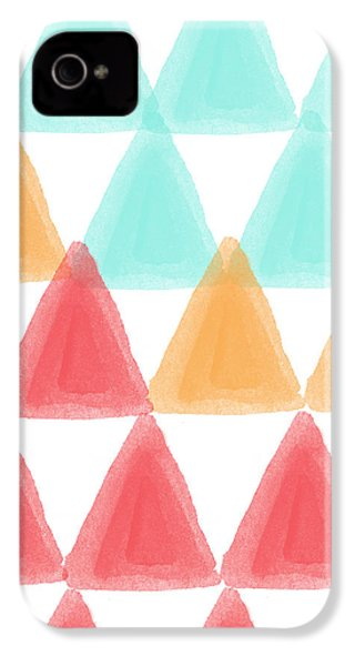 Trifold- Colorful Abstract Pattern Painting IPhone 4 Case by Linda Woods