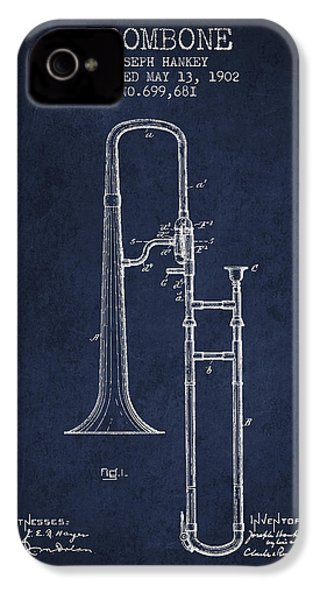 Trombone Patent From 1902 - Blue IPhone 4 Case by Aged Pixel