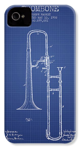 Trombone Patent From 1902 - Blueprint IPhone 4 Case by Aged Pixel