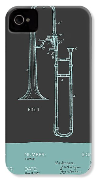 Trombone Patent From 1902 - Modern Gray Blue IPhone 4 Case by Aged Pixel