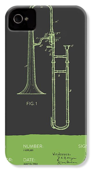 Trombone Patent From 1902 - Modern Gray Green IPhone 4 Case by Aged Pixel