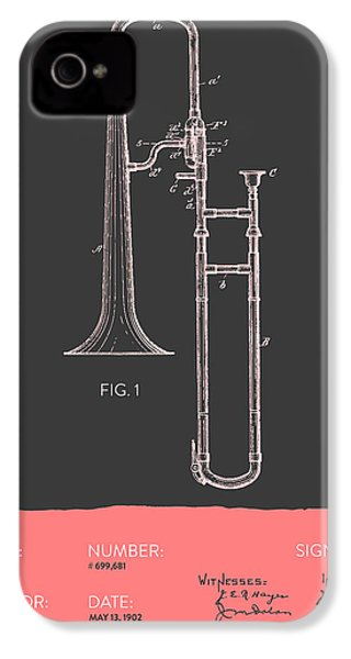 Trombone Patent From 1902 - Modern Gray Salmon IPhone 4 Case by Aged Pixel