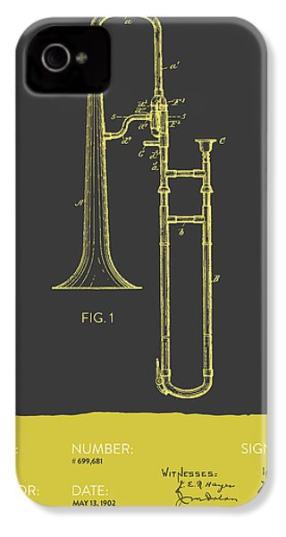 Trombone Patent From 1902 - Modern Gray Yellow IPhone 4 Case by Aged Pixel