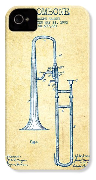 Trombone Patent From 1902 - Vintage Paper IPhone 4 Case by Aged Pixel