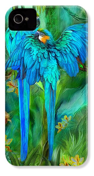 Tropic Spirits - Gold And Blue Macaws IPhone 4 Case by Carol Cavalaris