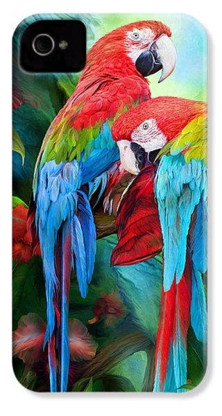 Tropic Spirits - Macaws IPhone 4 Case by Carol Cavalaris