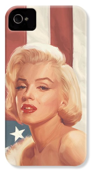 True Blue Marilyn In Flag IPhone 4 Case by Chris Consani