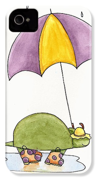 Turtle In The Rain IPhone 4 Case by Christy Beckwith