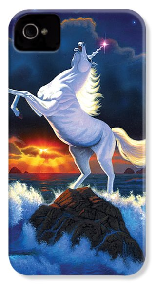Unicorn Raging Sea IPhone 4 Case