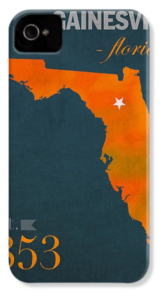 University Of Florida Gators Gainesville College Town Florida State Map Poster Series No 003 IPhone 4 Case by Design Turnpike