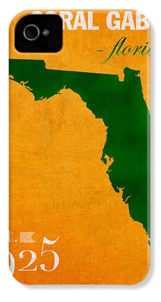 University Of Miami Hurricanes Coral Gables College Town Florida State Map Poster Series No 002 IPhone 4 Case by Design Turnpike