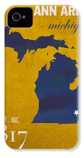 University Of Michigan Wolverines Ann Arbor College Town State Map Poster Series No 001 IPhone 4 Case by Design Turnpike