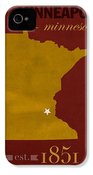 University Of Minnesota Golden Gophers Minneapolis College Town State Map Poster Series No 066 IPhone 4 Case by Design Turnpike