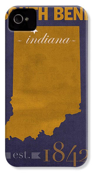 University Of Notre Dame Fighting Irish South Bend College Town State Map Poster Series No 081 IPhone 4 Case by Design Turnpike