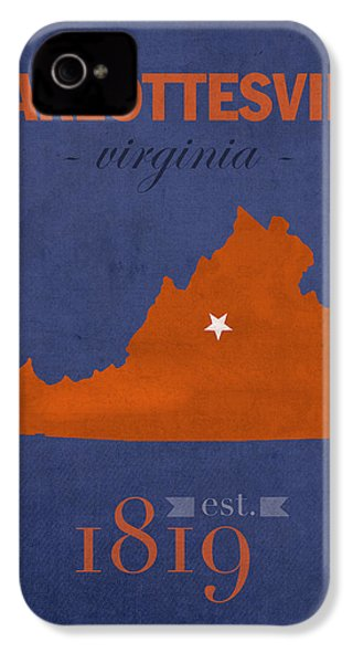 University Of Virginia Cavaliers Charlotteville College Town State Map Poster Series No 119 IPhone 4 Case by Design Turnpike