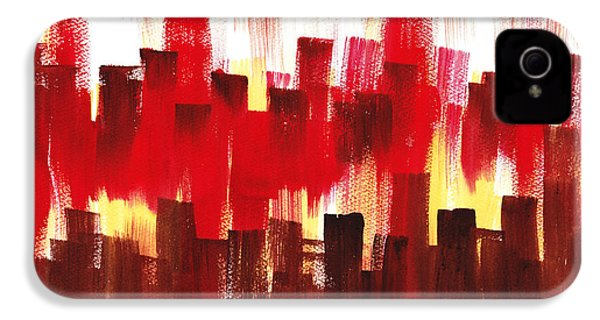 IPhone 4 Case featuring the painting Urban Abstract Evening Lights by Irina Sztukowski