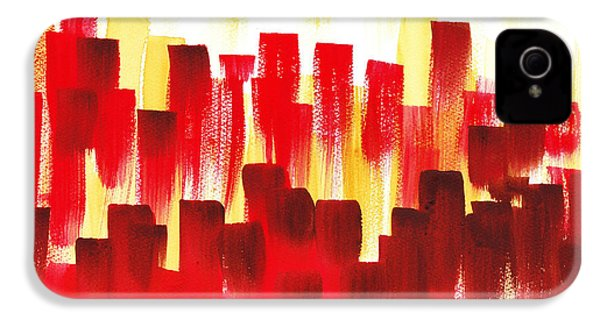IPhone 4 Case featuring the painting Urban Abstract Red City Lights by Irina Sztukowski