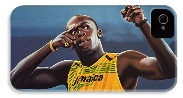 Usain Bolt Painting IPhone 4 Case by Paul Meijering