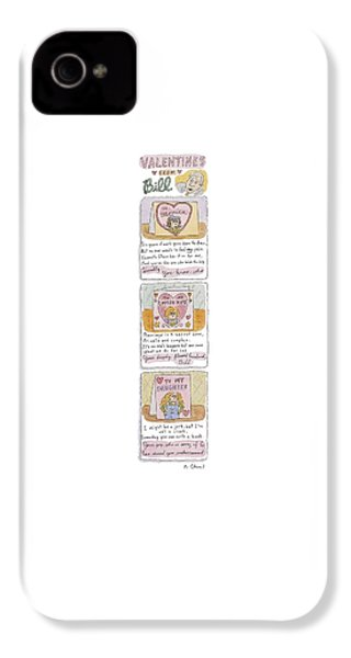 Valentines From Bill To Monica IPhone 4 Case by Roz Chast