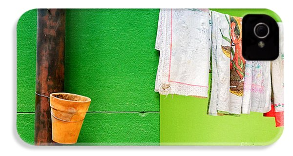IPhone 4 Case featuring the photograph Vase Towels And Green Wall by Silvia Ganora