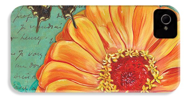 Verdigris Floral 1 IPhone 4 Case by Debbie DeWitt