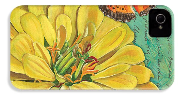 Verdigris Floral 2 IPhone 4 Case by Debbie DeWitt
