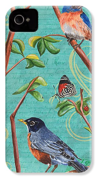 Verdigris Songbirds 1 IPhone 4 Case by Debbie DeWitt